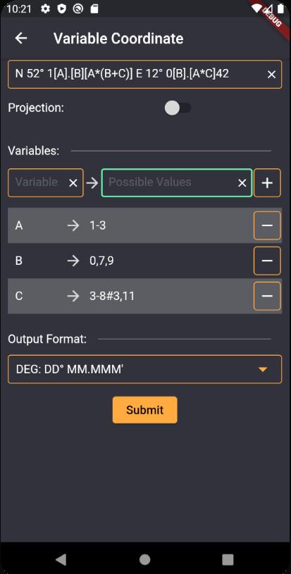 Enter value ranges