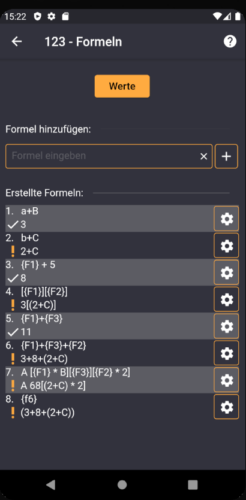 Nutze vorige Formeln